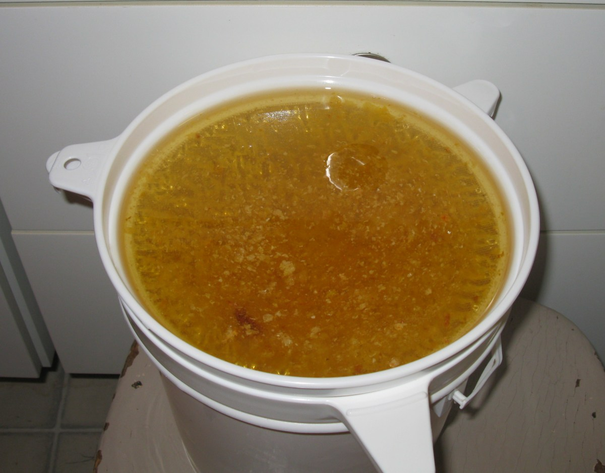 Full sieve ready to filter wax from the honey overnight