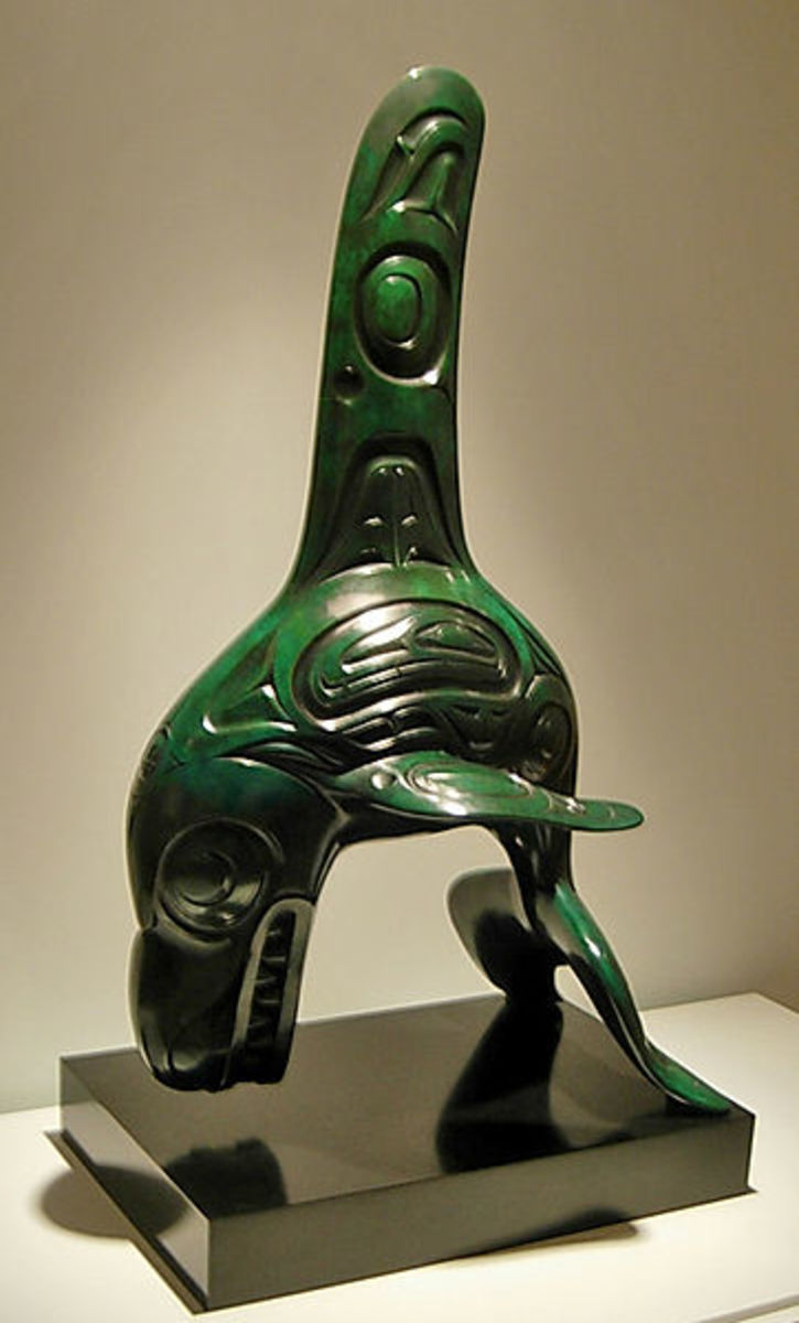 Whale in Haida traditional art form by Bill Reid (1920 - 1998). Whales carry wisdom and are chiefs of the sea.