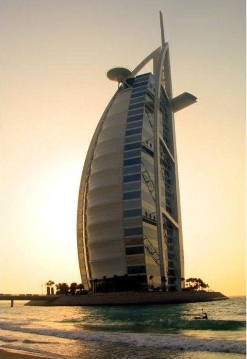 The Burj Al Arab Hotel is known as one of the building wonders located in Dubai on and artificial island and stand 1,053 ft proud in the sky-line.It is considered to be one of the world seven star hotel.
