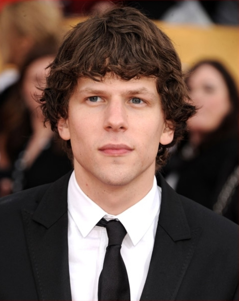 Jesse Eisenberg, 29, at the Screen Actors Guild Awards.  Jesse's hair is naturally curly. - 2013 Hairstyles for Men Short Medium Long Hair Styles Haircuts, by Rosie2010