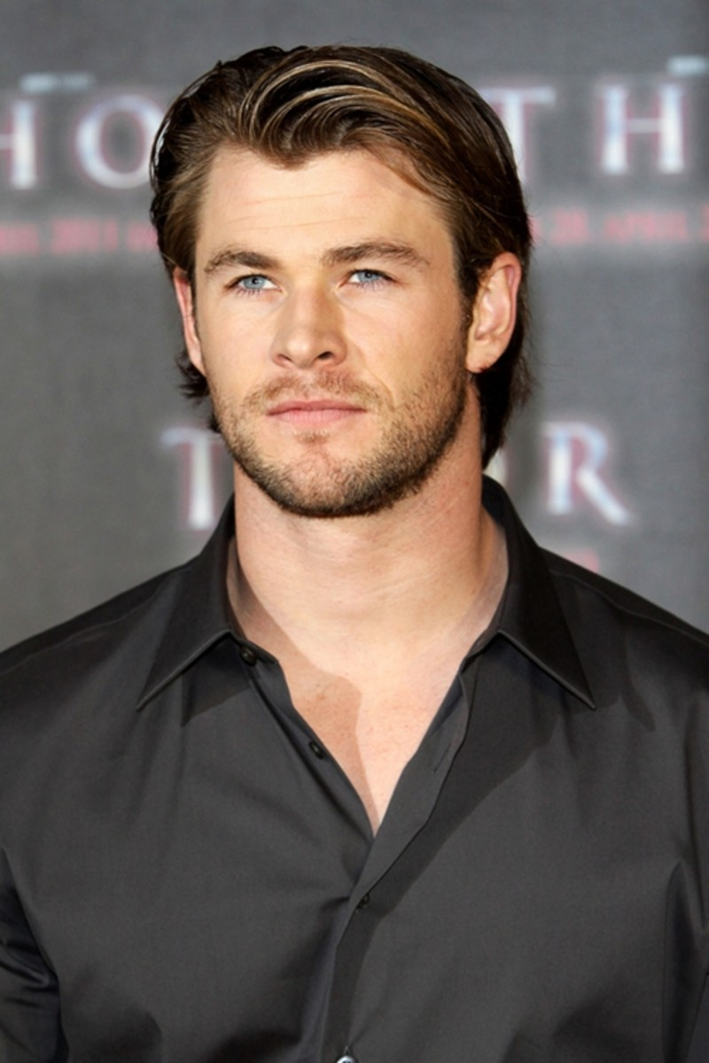 Chris Hemsworth. 29, the star of Thor, wearing the classic front wave.  This is the longish trendy style of the classic front wave. - 2013 Hairstyles for Men Short Medium Long Hair Styles Haircuts
