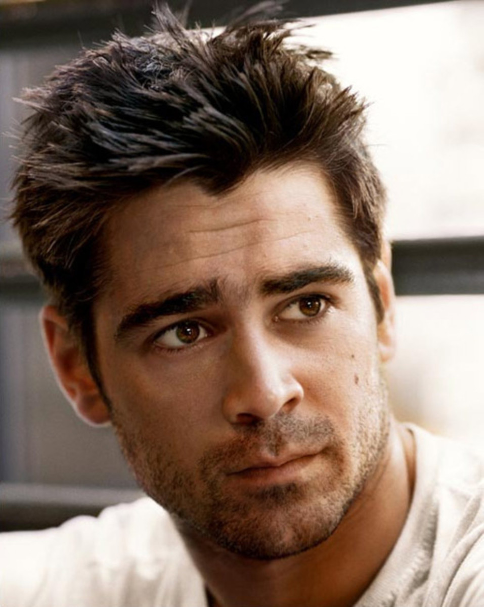 Colin Farrell, 36, wearing a messy spikey medium hair style.  So trendy. - 2013 Hairstyles for Men Short Medium Long Hair Styles Haircuts, by Rosie2010