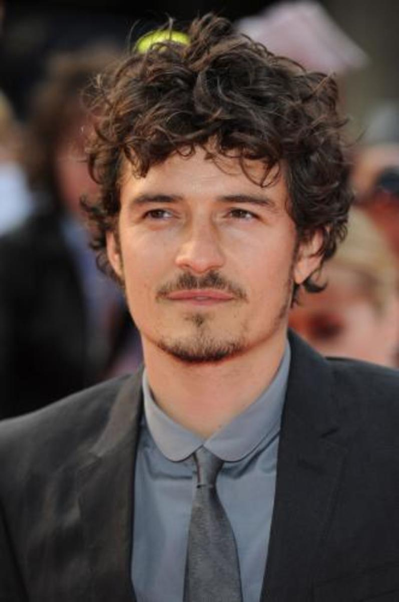 Orlando Bloom, 36, has a long curly hair.  Very playful and casual. - 2013 Hairstyles for Men Short Medium Long Hair Styles Haircuts, by Rosie2010