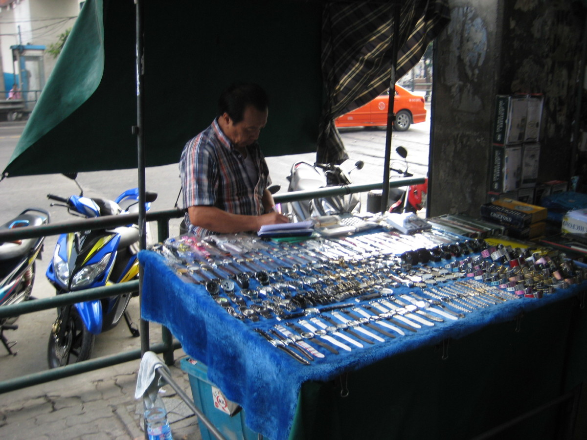 Real or fake? A watch vendor on Ratchapraop Road on the east end of Pratunam Market
