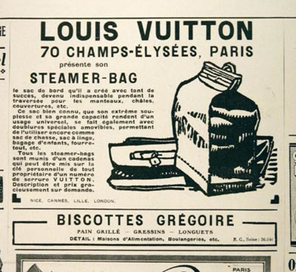 1925 French LV Ad for the original Steamer Bag!