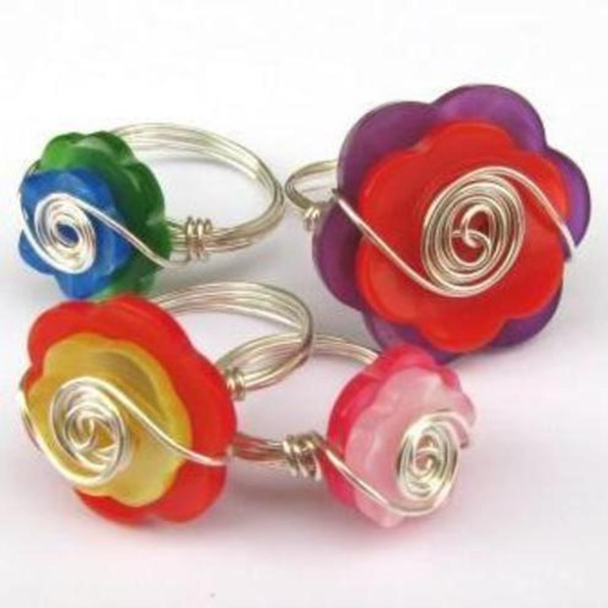 Flower Power Button Ring
