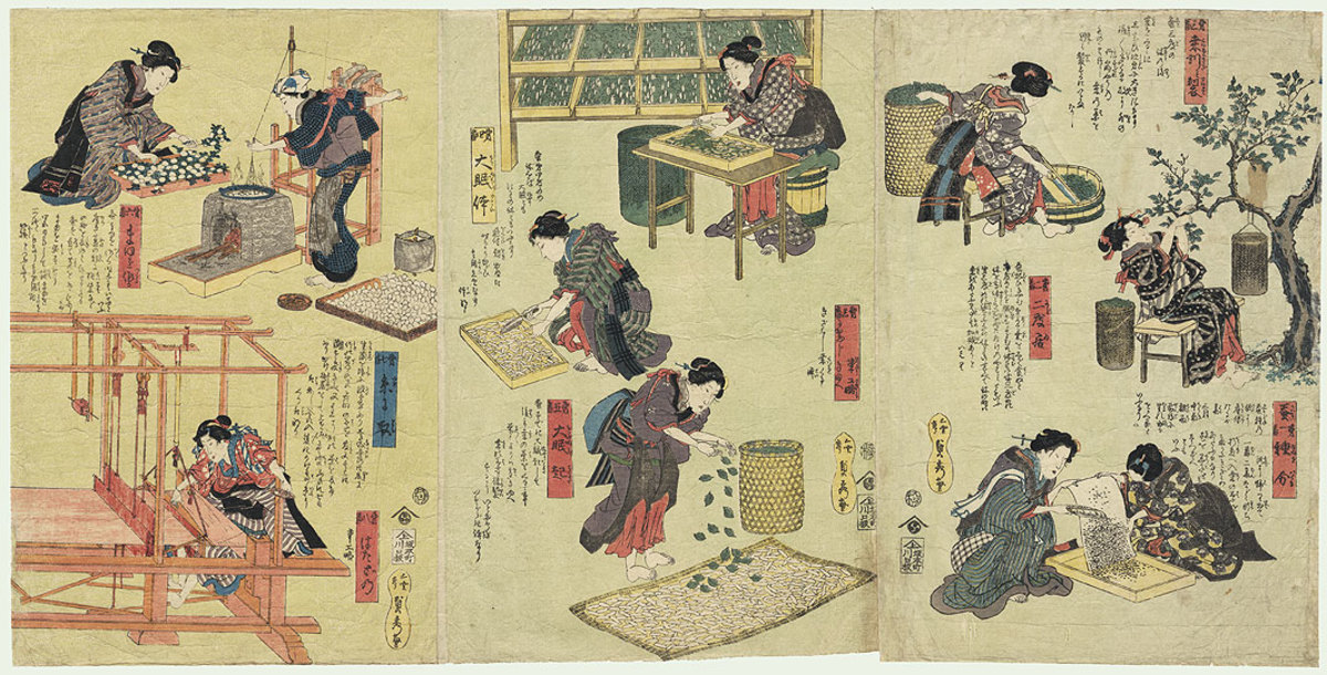 A Japanese triptych on silk production-  look from right to left!