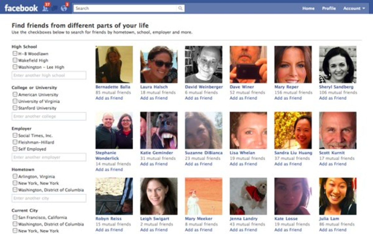 Facebook users can keep track of how many friends they have and see how many friends other users have.
