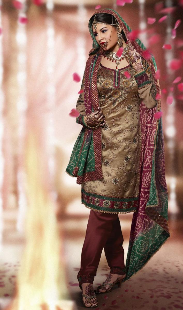 Gorgeous full sleeve salwar kameez in maroon, broze and green