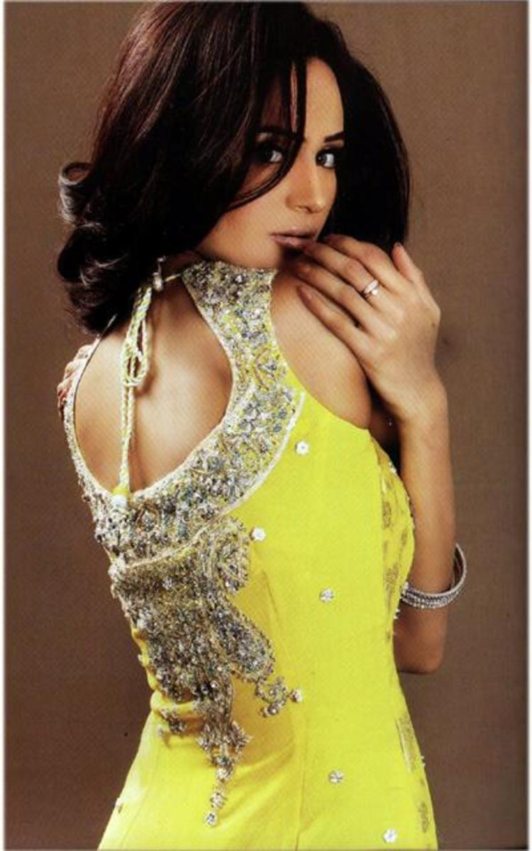 Beautiful back neck in yellow embellished salwar kameez