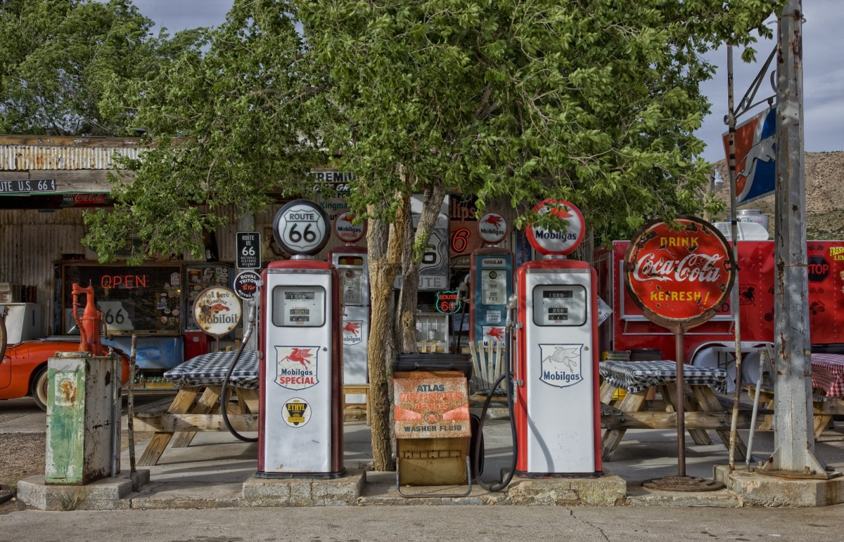 Old Gas Pumps with vintage gas pump globes