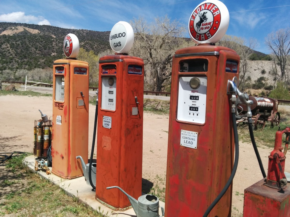 Old Gas Pumps with Gas Pump Globes