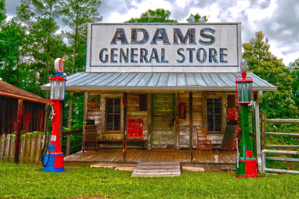Old General Store with Visible Gas Pumps that have Gas Pump Globes on Top