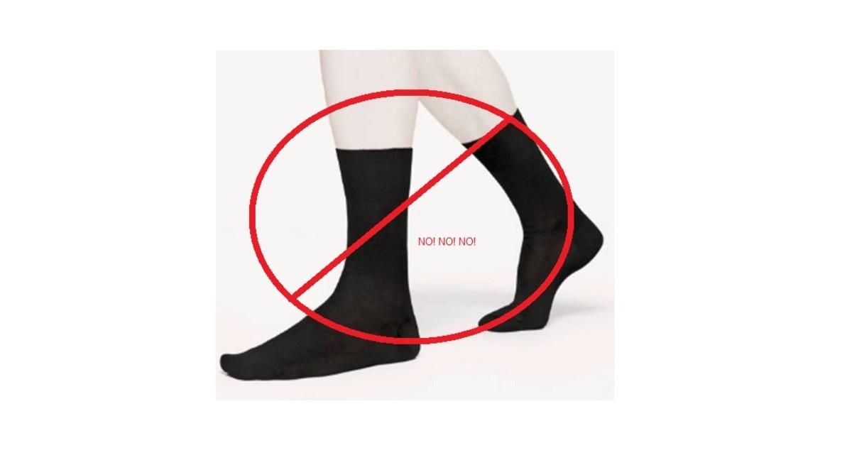 Say NO to black socks.