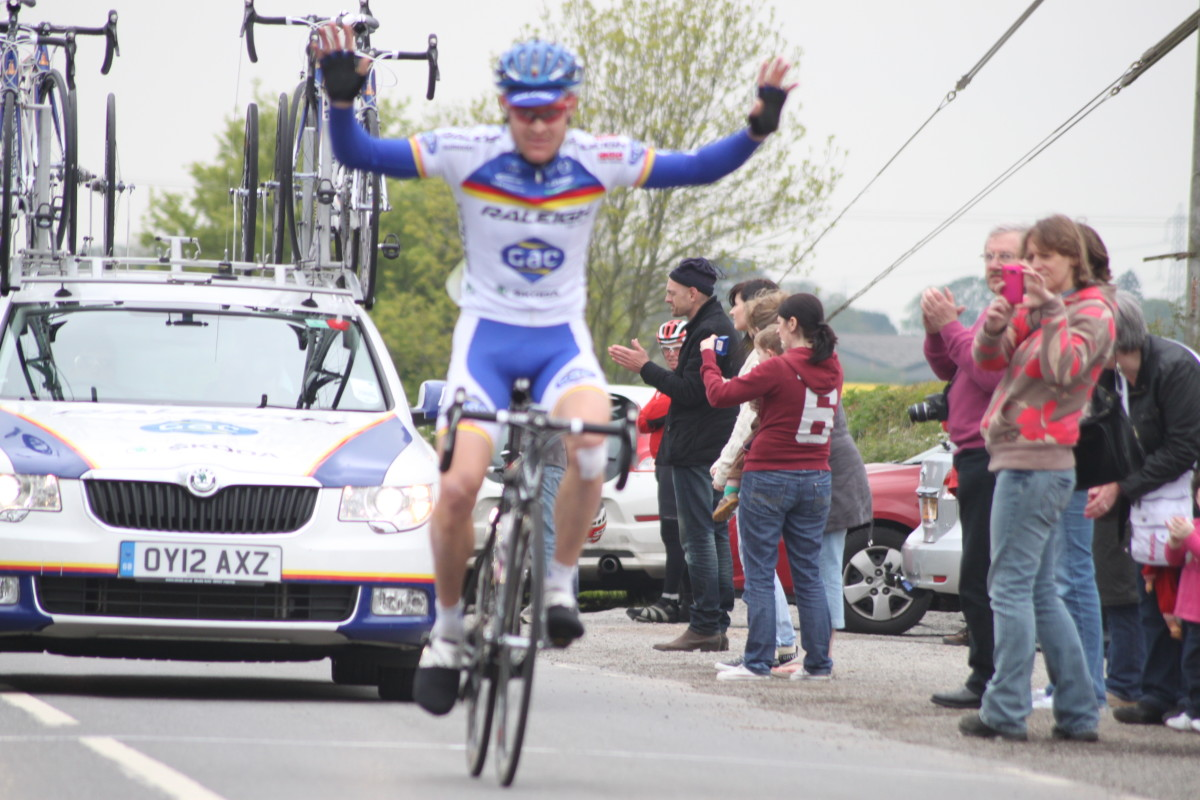 Bernard Sulzberger of Team Raleigh GAC: pro cyclist winning the East Midlands Division Road Race Championships, 2012