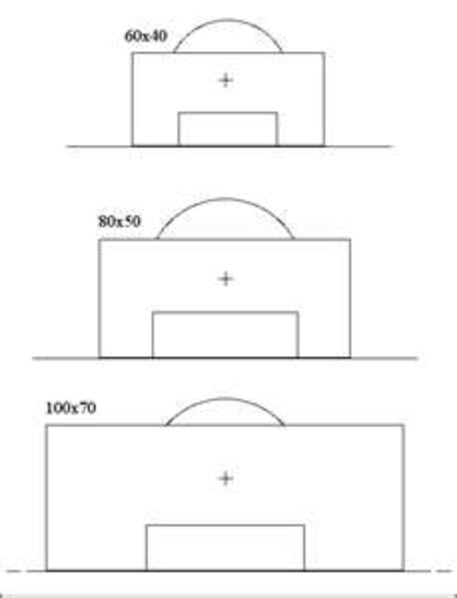 A diagram of the penalty area, penalty mark and the penalty arc. The goal area is the rectangle within the penalty area.
