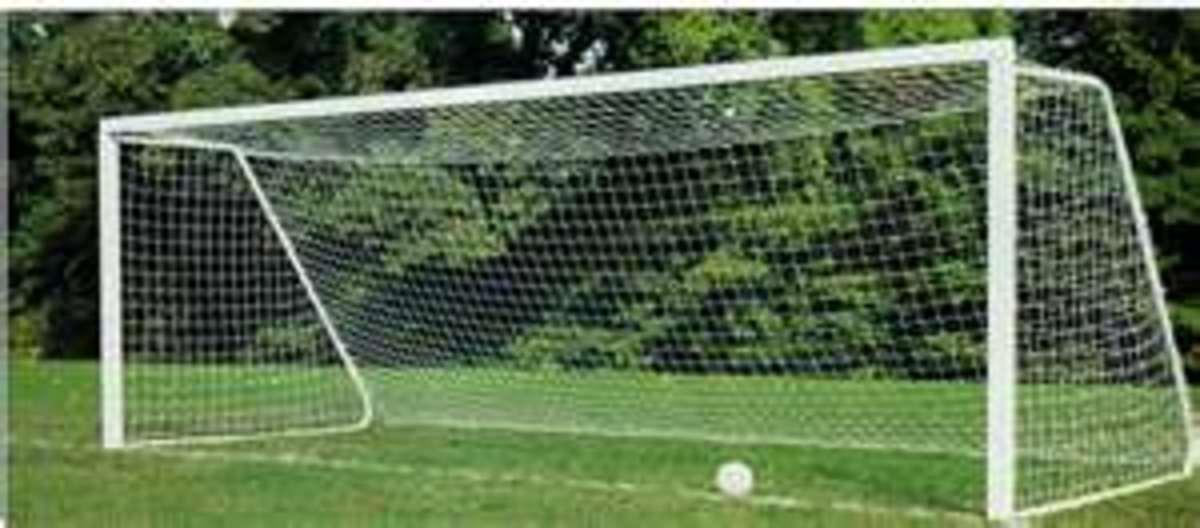 A standard soccer goal
