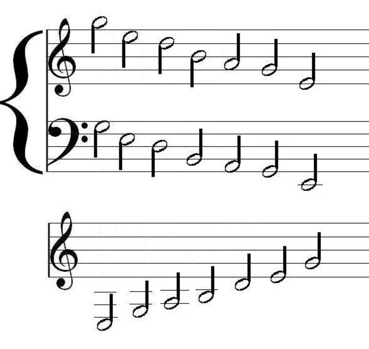 On the grand staff for piano (descending) and on the treble staff for guitar (ascending), you can see the intervals of the pentatonic scales.