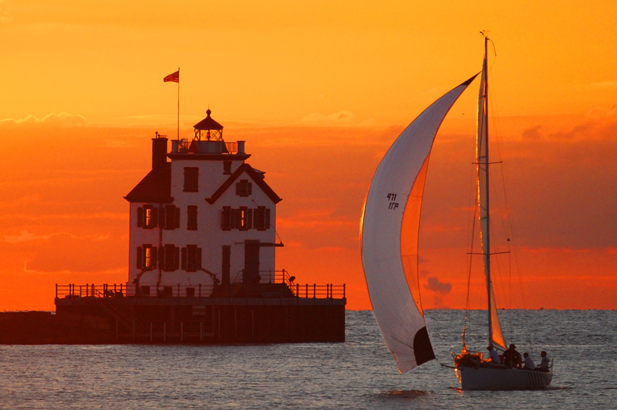 Lorain Lighthouse at sunset.