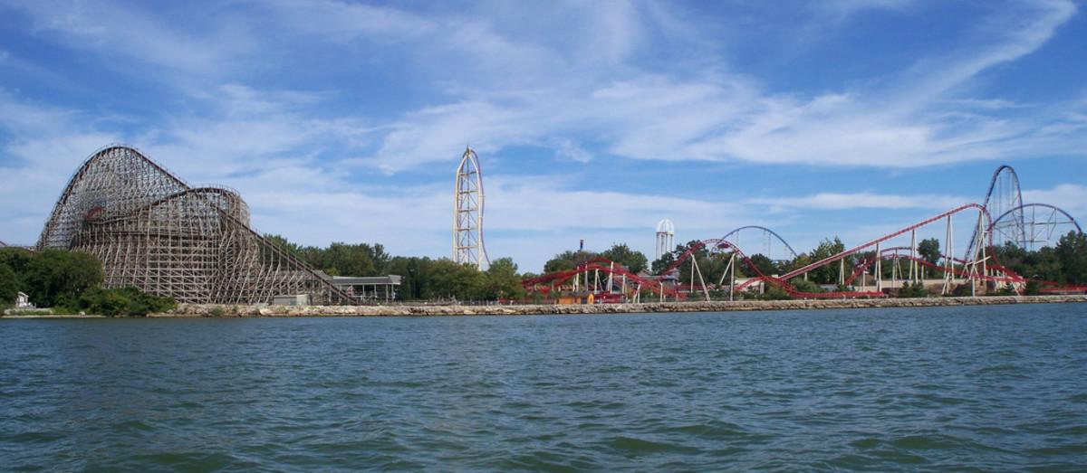 View of Cedar Point Amusement Park on Lake Erie.