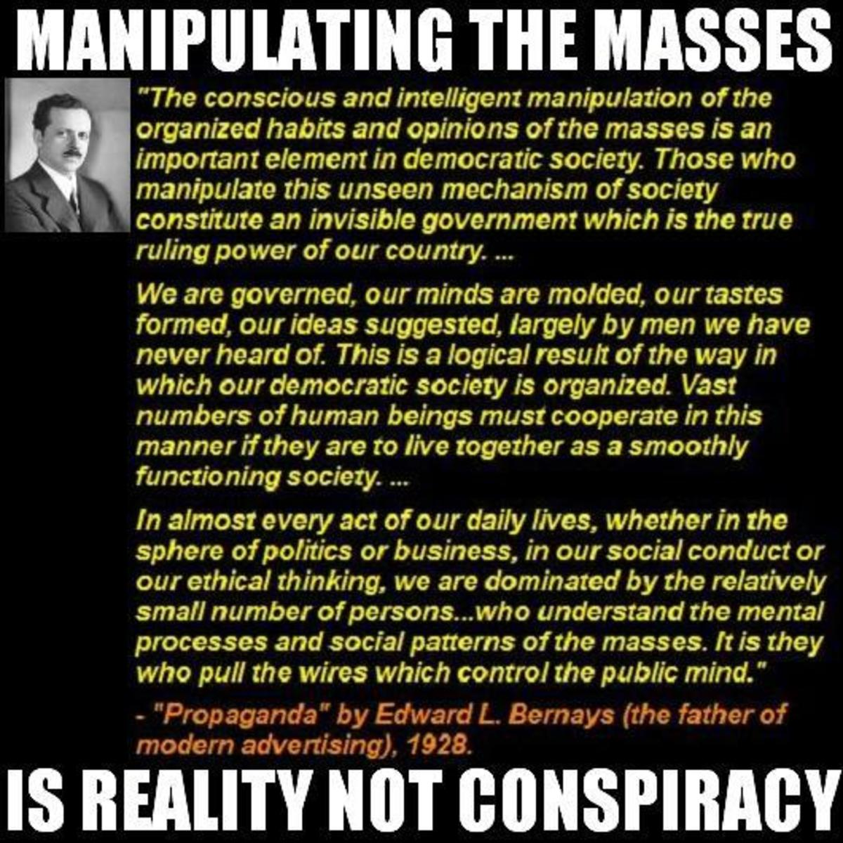 These people know very well how to control human consciousness. They've been doing it quite a long time. Food, water, energy, clothing, health care, education, marketing, etc. The evidence is all over the place, everything is backwards from progress.