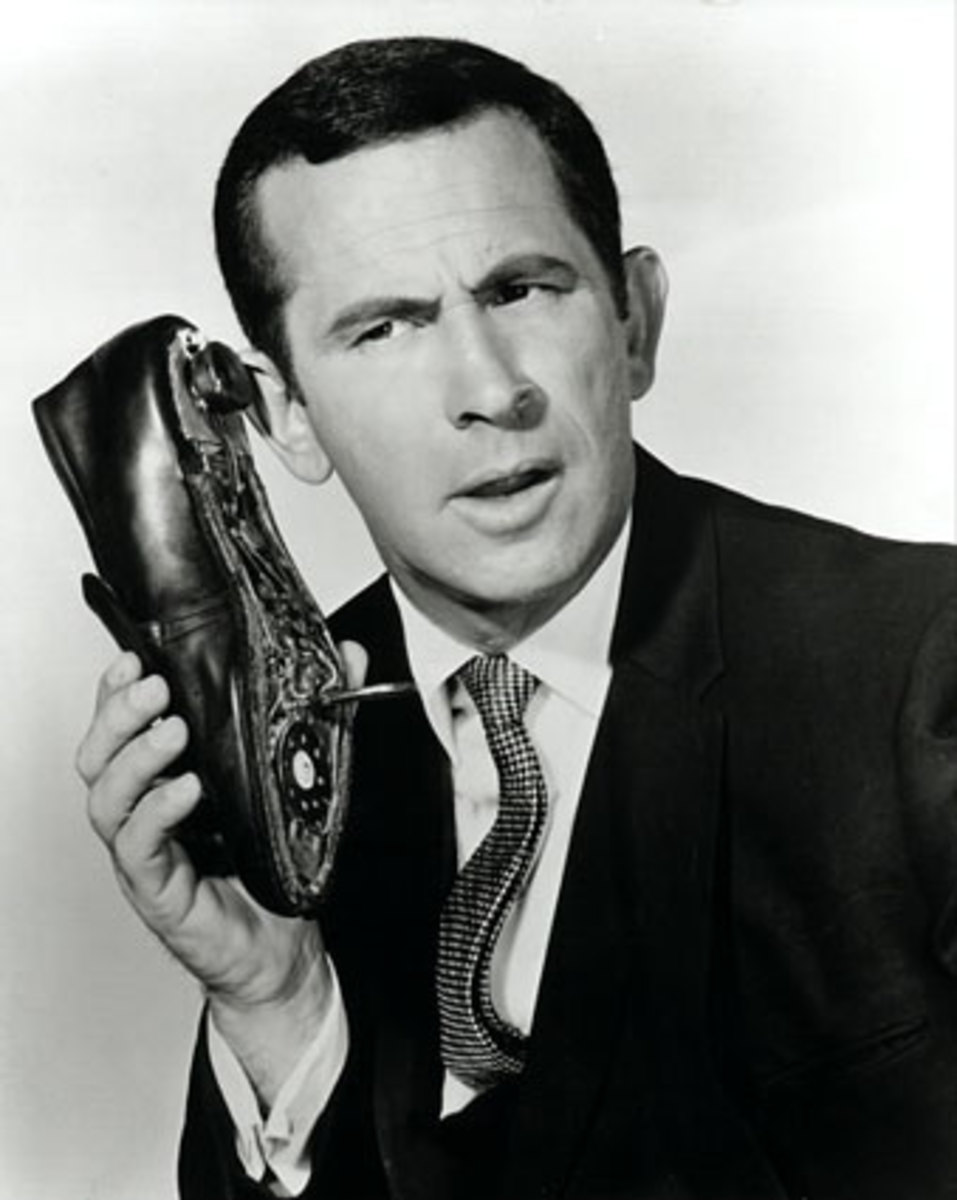 The late actor, Don Adams, played secret agent 86, in the 1960s TV series, Get Smart. Here's Maxwell Smart, with his iconic shoe-phone.