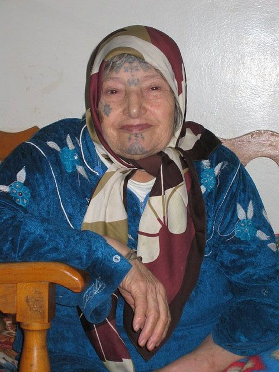 Algerian Woman With Blue Facial Tattoos