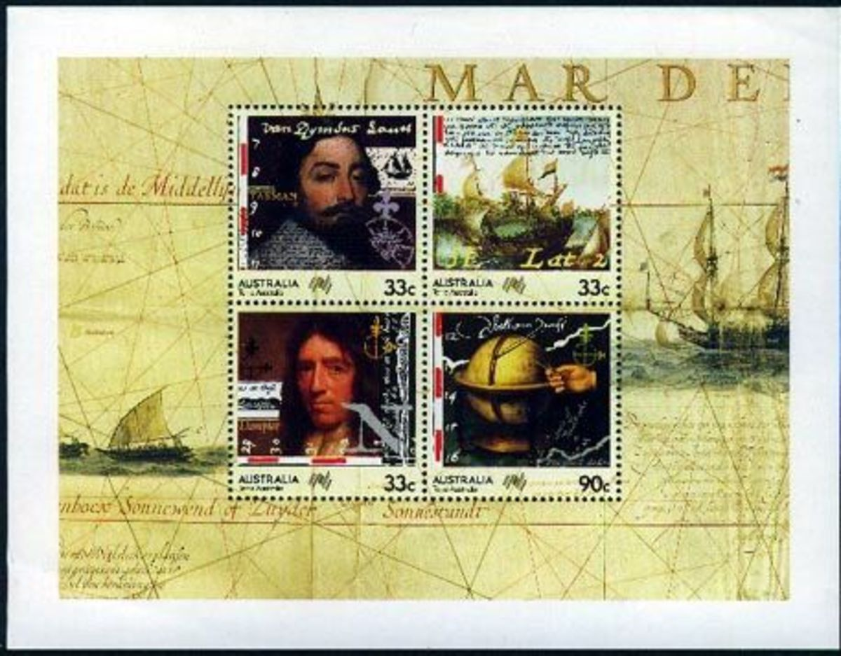 Australian stamps - Dampier and Tasman - 1985