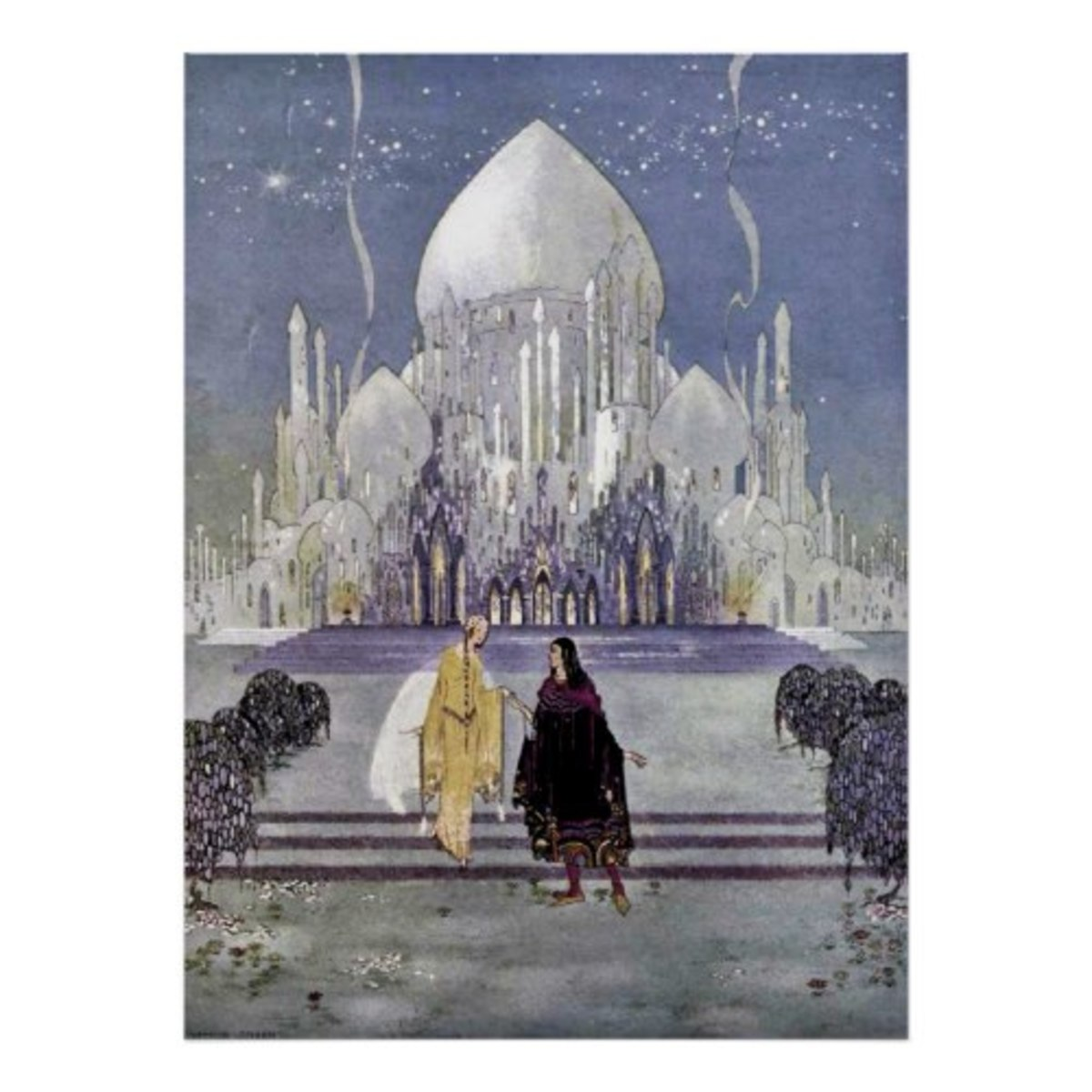 Illustration with Orientalism influences. Virginia Frances Sterrett was an early twentieth century illustrator who is best known for her pictures depicting the Arabian Nights