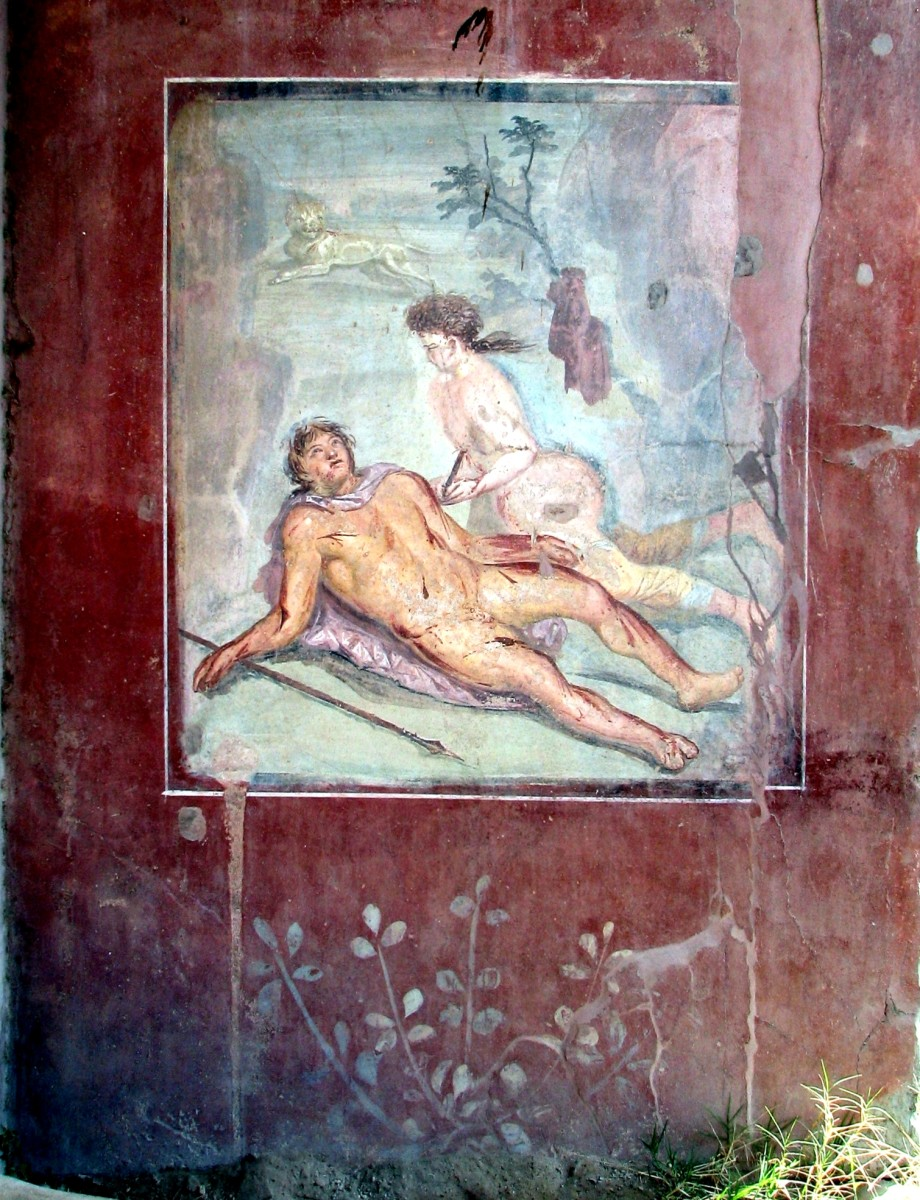 Pompeian fresco showing Thisbe finding the dying Pyramus. Note the lion in the background.