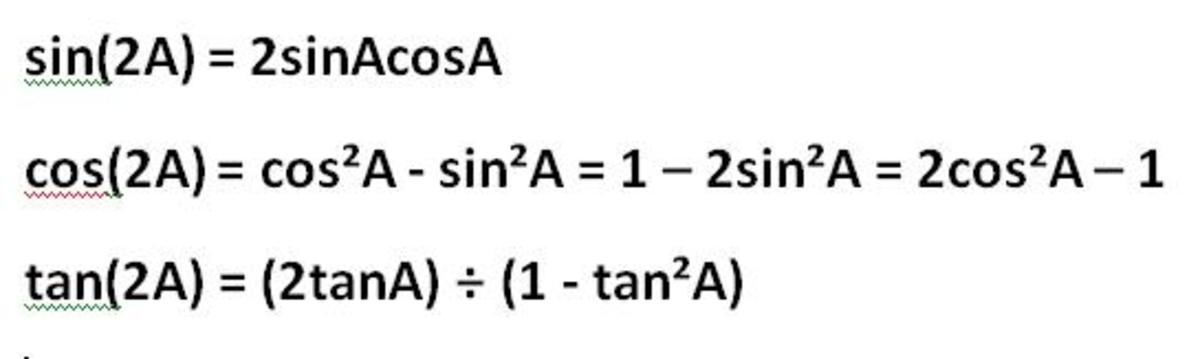 The double angle identities: sin2A, cos2A and tan 2A derived from the trigonometric addition formulas.
