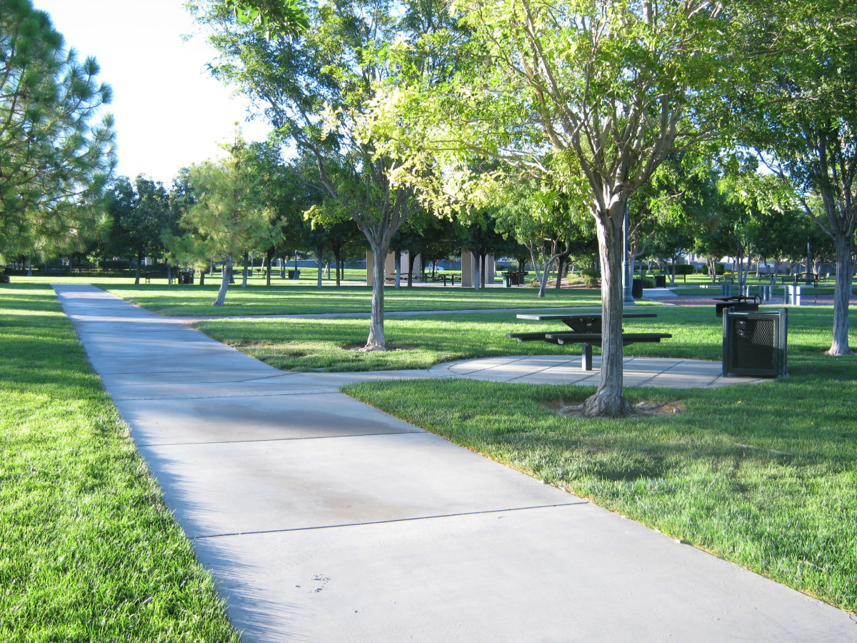 A beautiful place for a walk. We see a lot of dog walkers here in the evening! Lining the path are little doggie boxes where you can get brown bags to pick up after Fifi or Brutus. Very thoughtfully designed park!