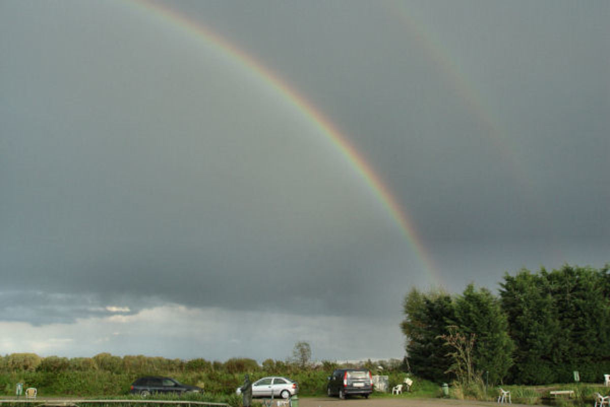Double rainbow at the fishing pond
