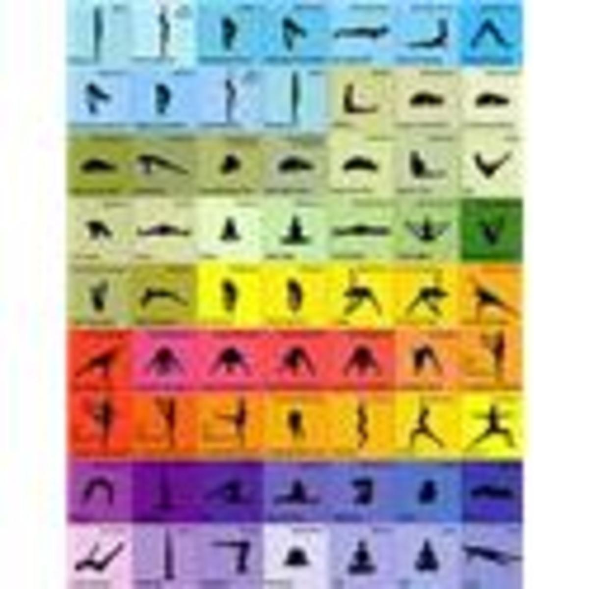 Colorful Yoga Poster with 63 Different Exercises