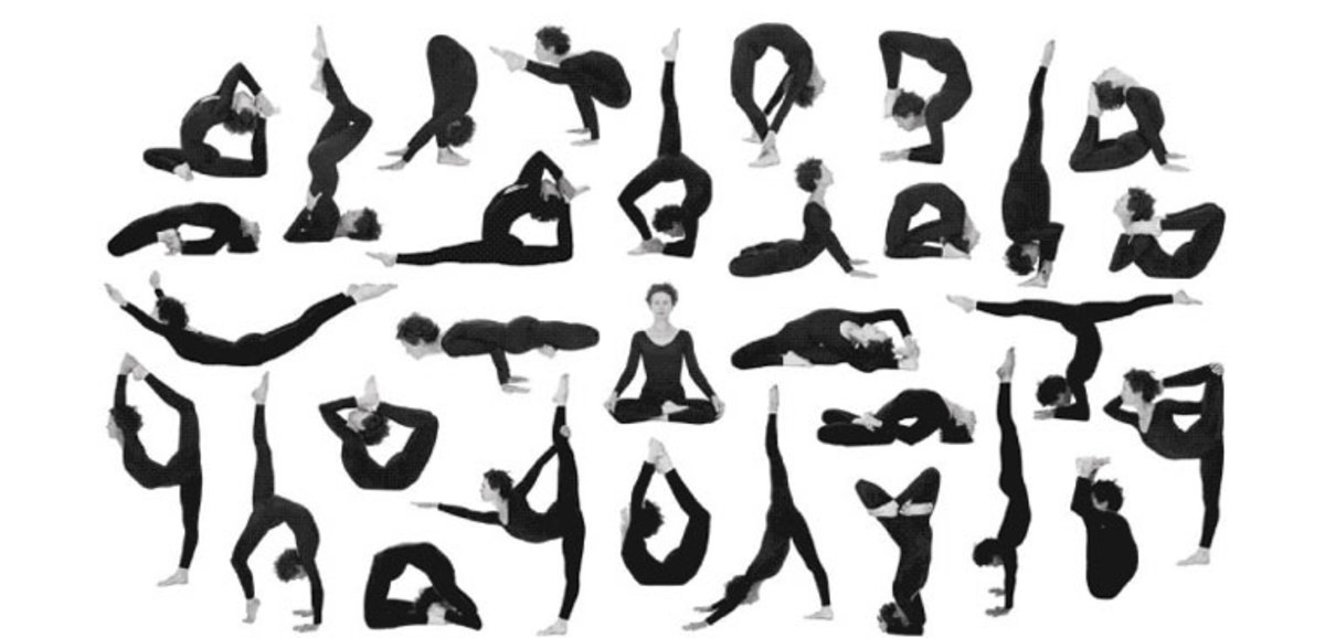Artistic Yoga Poster Detailing Different Exercises
