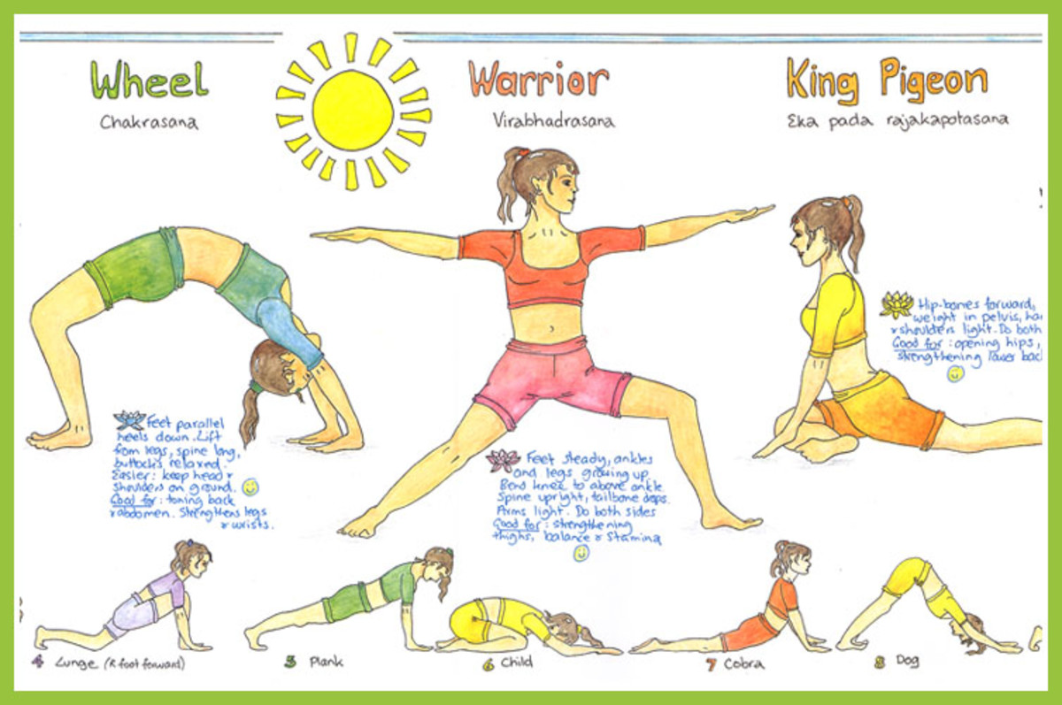 Artistic Yoga Poster With Different Exercises Positions