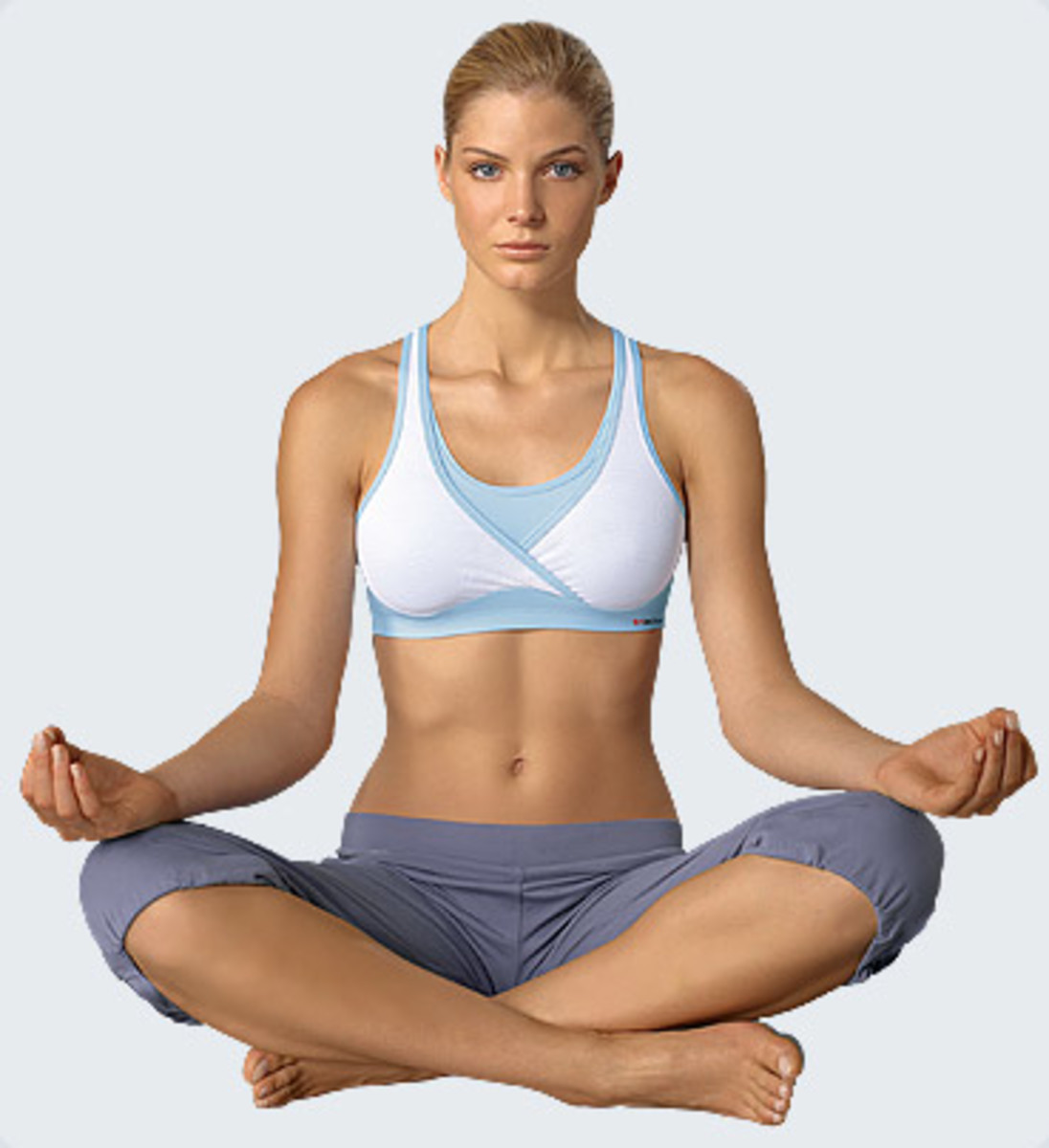 Pretty blond in yoga exercise position
