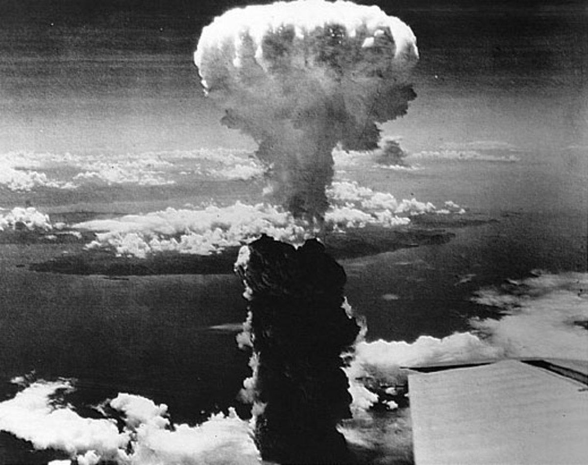 The mushroom cloud over Hiroshima.