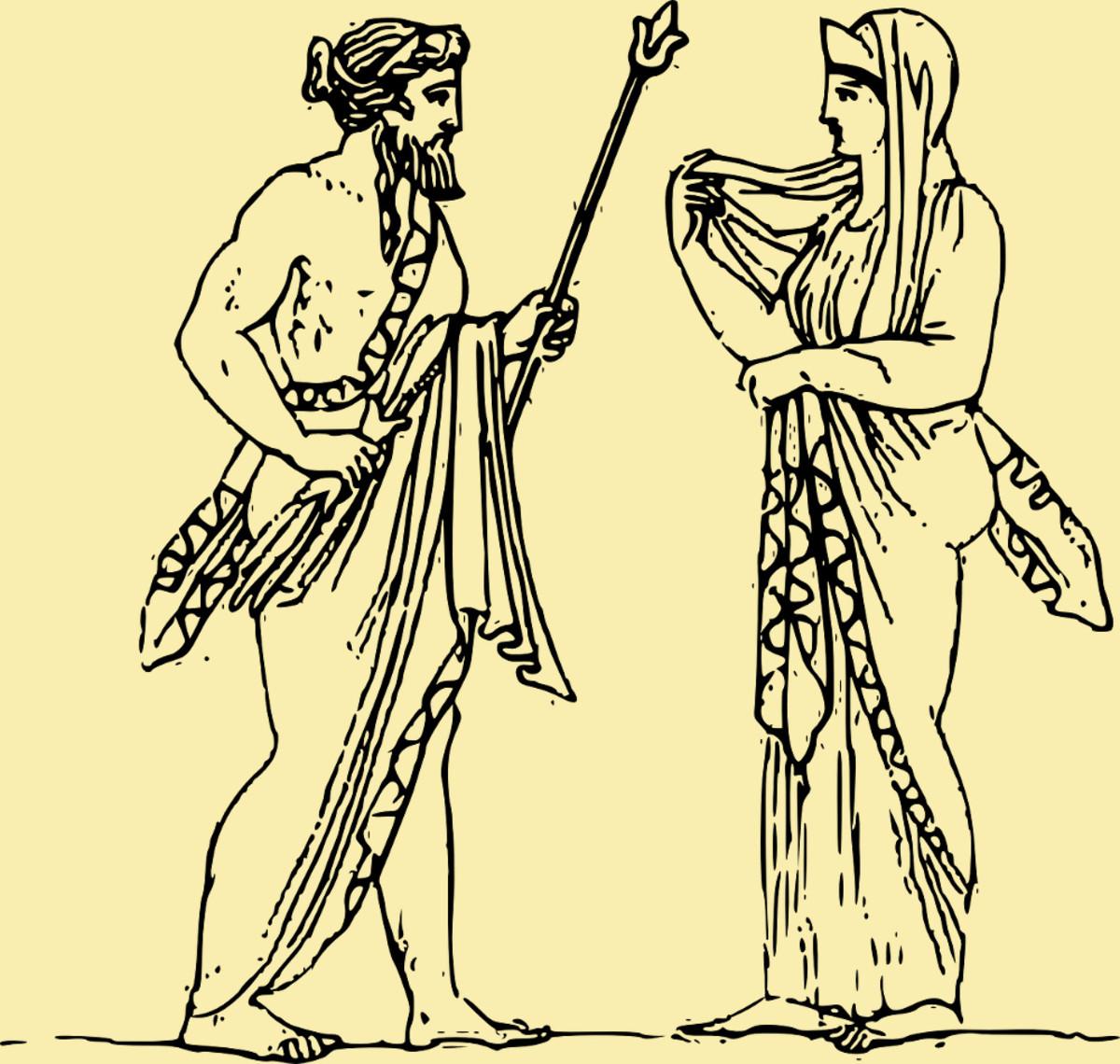 Greek myth mythological figures characters statues