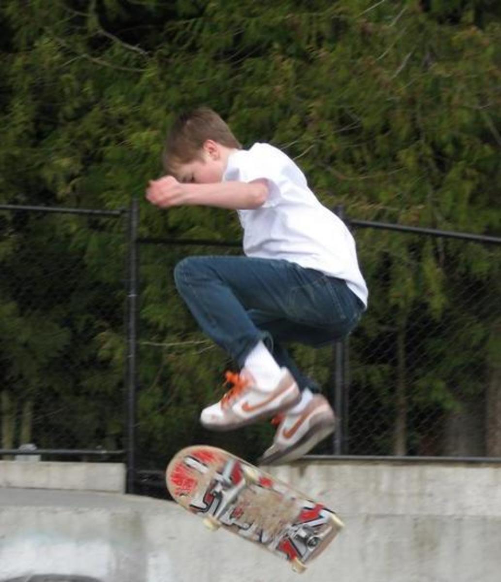 Skateboarding at the skate park located at Volunteer Park.