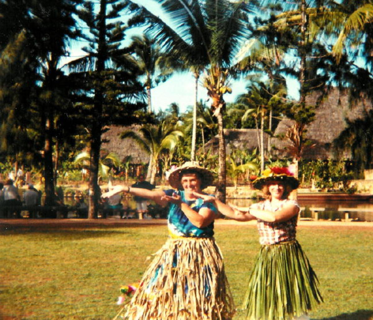 "My Mother In Law and I learning to do the ""hula""... before our boys were even born!"