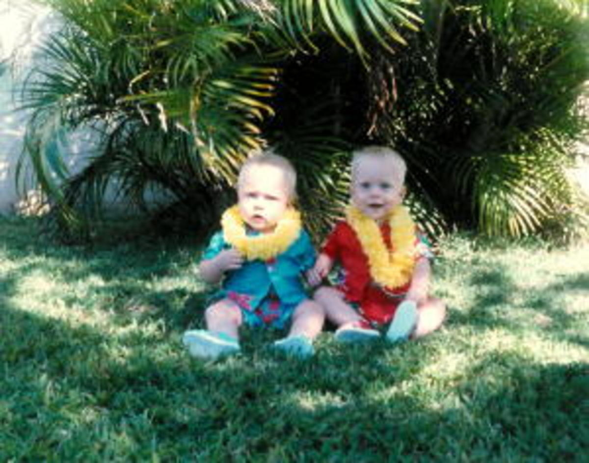 Our boys when they were babies, we had to have a Hawaiian picture!