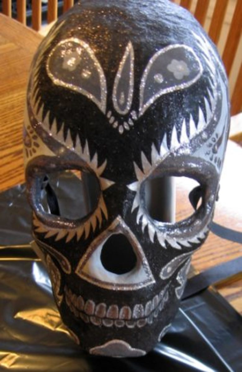 Black and Gray Day of the Dead Mask