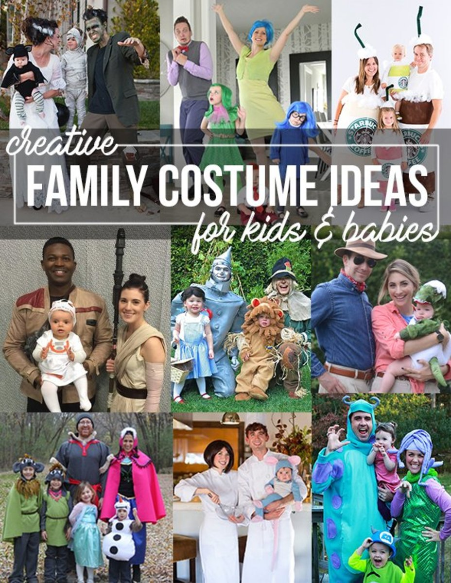 Over 50 creative DIY costume ideas for families with kids and babies.