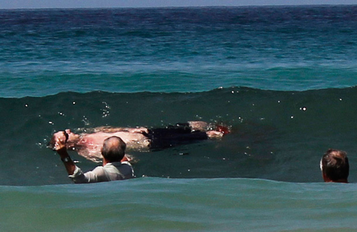 Michael Cohen, in the water at Fish Hoek Beach just after the shark attack