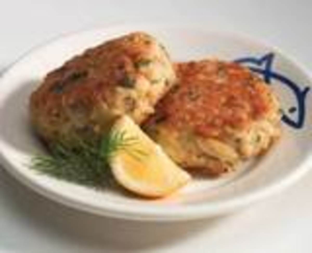 Crab cakes are delicious with chilli jam - serve with lime wedges.