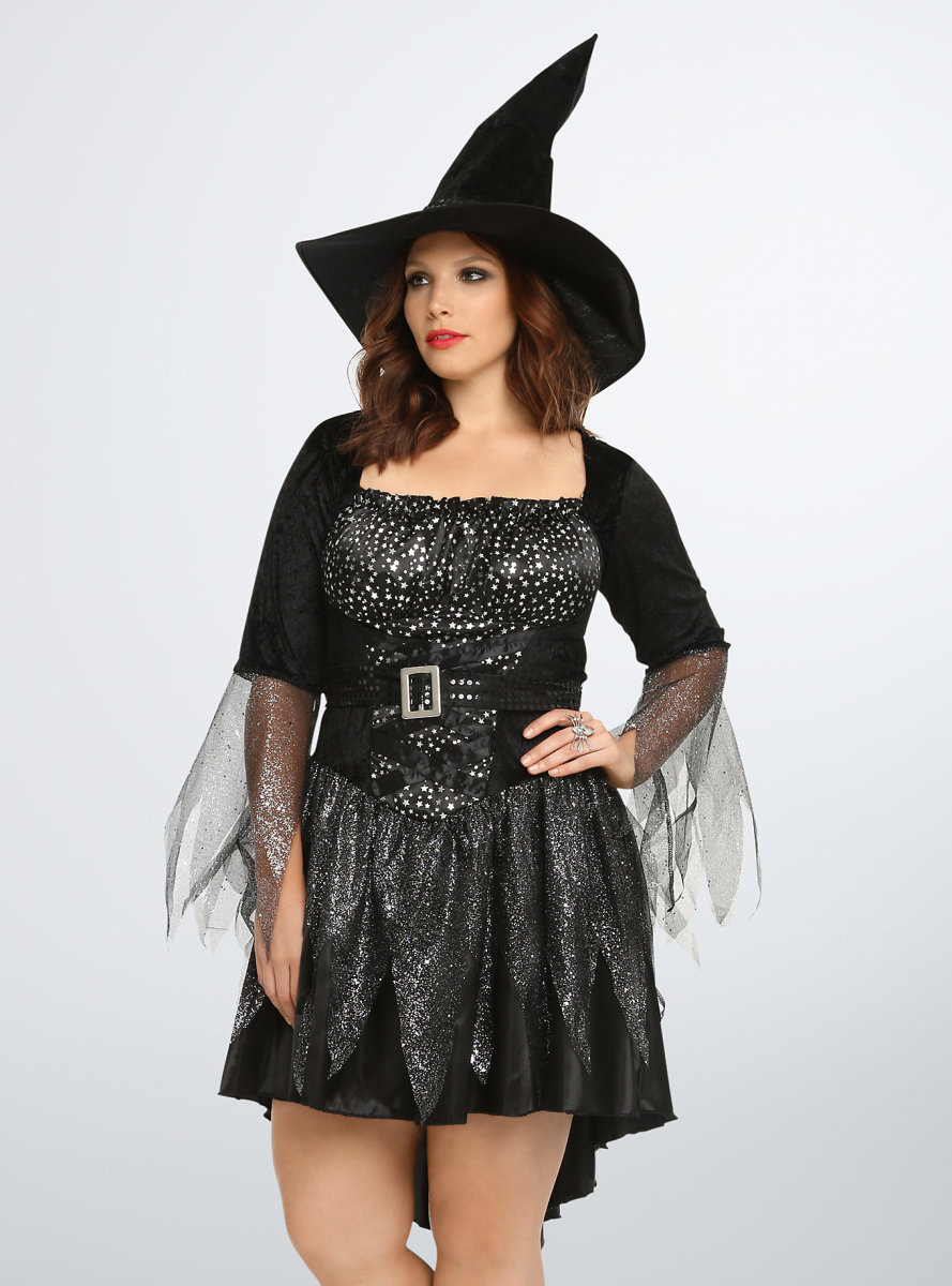 Black Witch Dress from Torrid.com Velvet-like shoulders, silver-tone mesh sleeves to bewitch your admirers