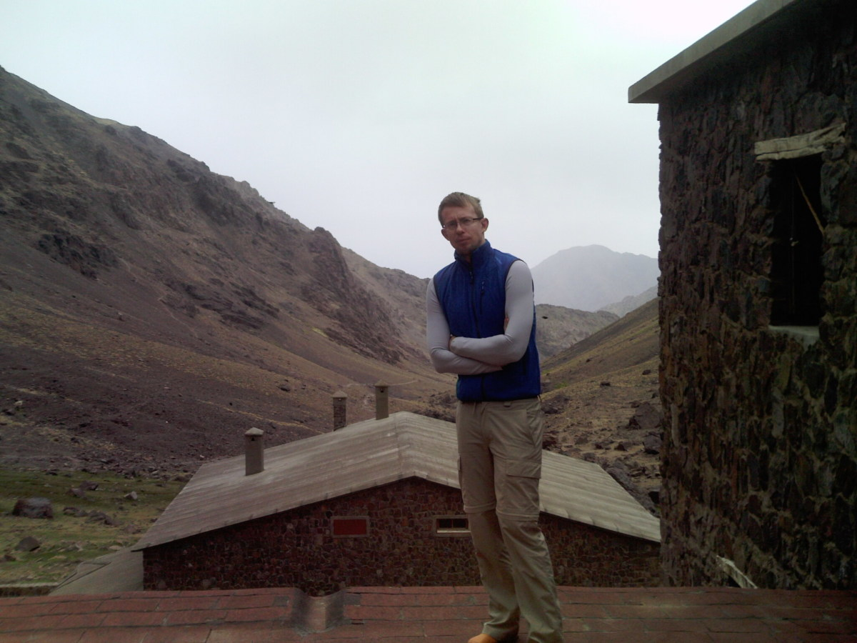 At Jebel Toubkal Basecamp, The High Atlas Mountains, Morocco- ready to conquer Mount Toubkal- the highest mountain in North Africa at 4167 m