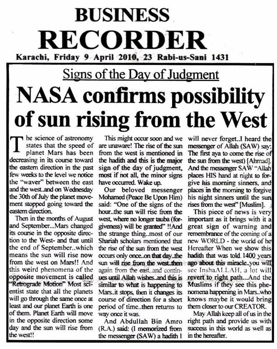 A newspaper report about NASA confirming the possibility of the Sun rising from the place of it's setting.