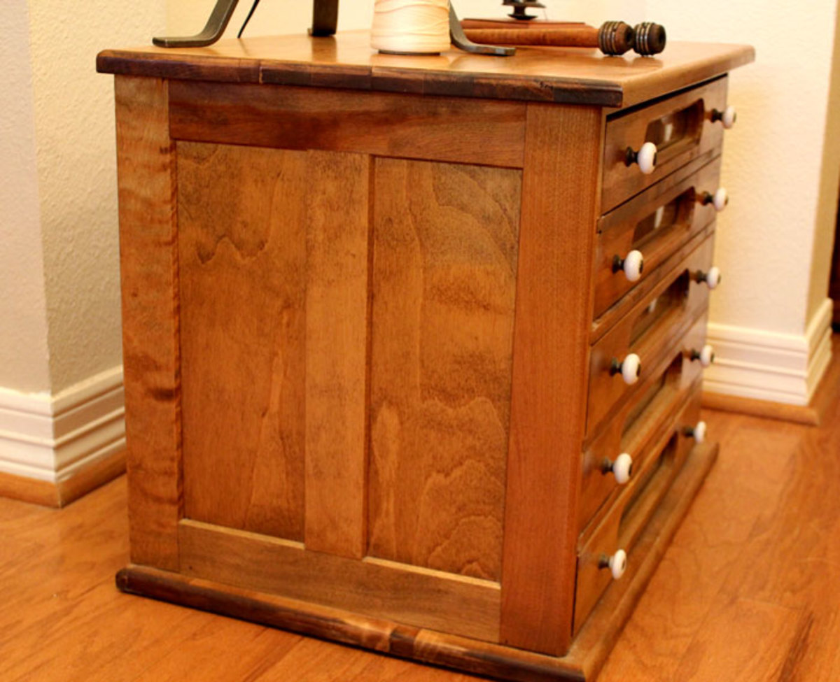 Sides of the Cottage Craft Works reproduction J & P Coats spool cabinets feature quality reverse panel construction.  The same furniture construction used in the late 1800 and 1900s.